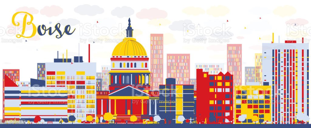 Abstract Boise Skyline with color Buildings vector art illustration