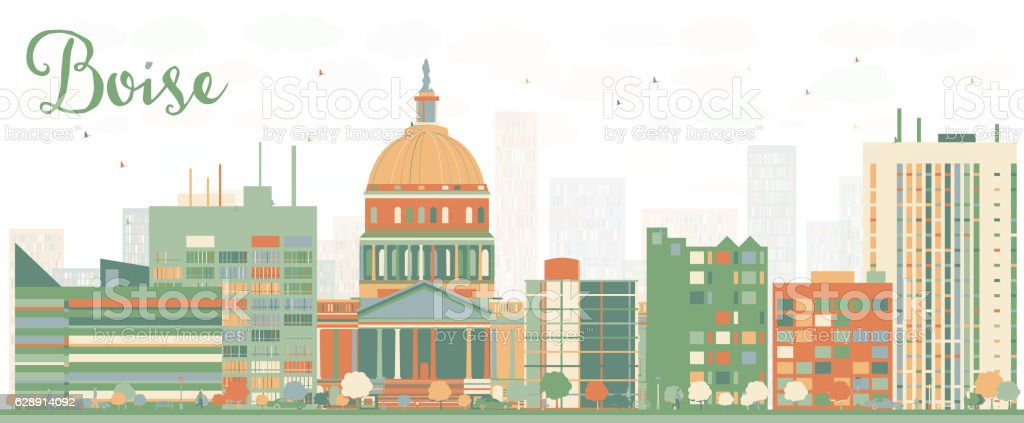 Abstract Boise Skyline with Color Buildings. vector art illustration