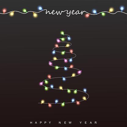 Abstract bokeh background. Christmas lights. Pine tree .Vector illustration