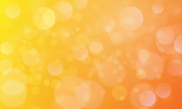 bildbanksillustrationer, clip art samt tecknat material och ikoner med abstrakt bokeh ljus effekt med gul orange bakgrund, bokeh konsistens, bokeh bakgrund, vektor illustration för grafisk design - gul bakgrund