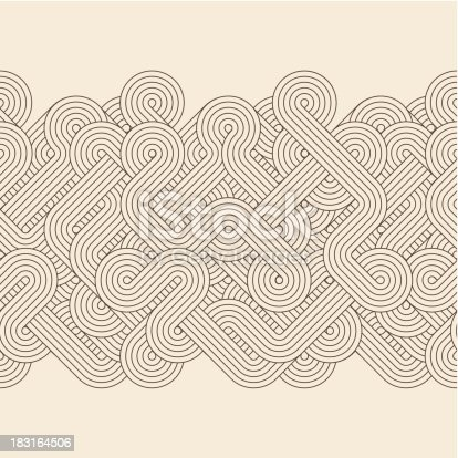 Seamless abstract border with twisted lines