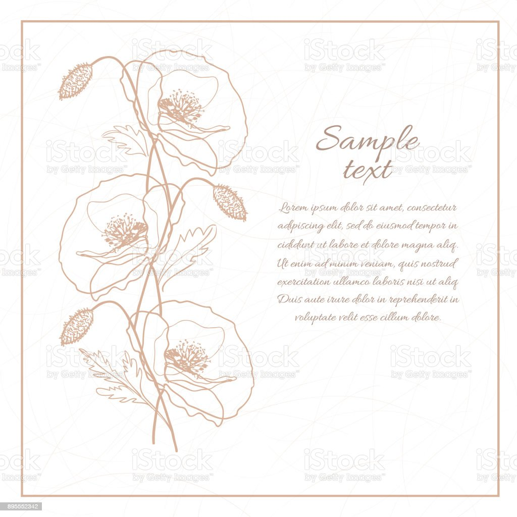 Abstract Botanical Card Background Banner With Hand Drawn Outline