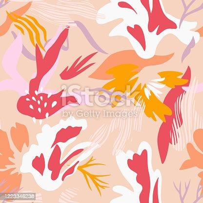 istock Abstract botanical seamless pattern. Geometric botanical shapes. 1223346238