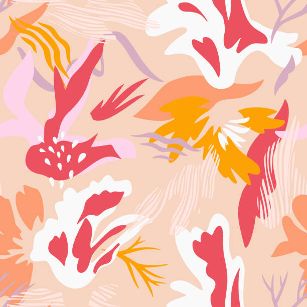 Abstract botanical seamless pattern. Geometric botanical shapes. Abstract botanical seamless pattern. Flat flowers, cutout floral elements with doodles. Collage style, modern cut paper design. For fashion textile and fabric printing. abstract clipart stock illustrations