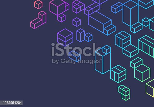 Abstract cubes and boxes efficiency background.
