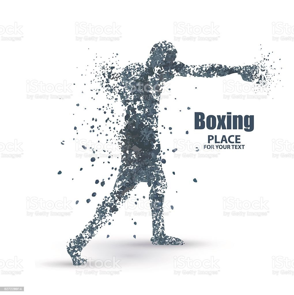 Abstract boxing from dot, particle divergent composition vector art illustration