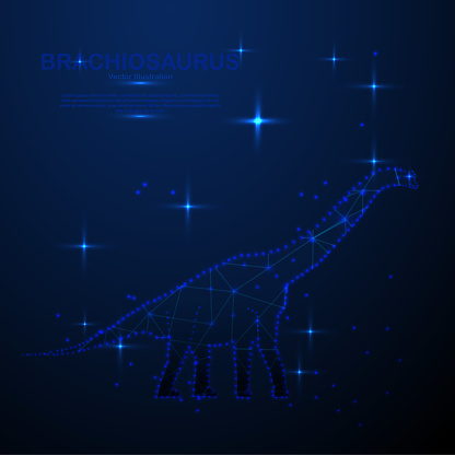 Abstract brachiosaurus in the space, low poly style design