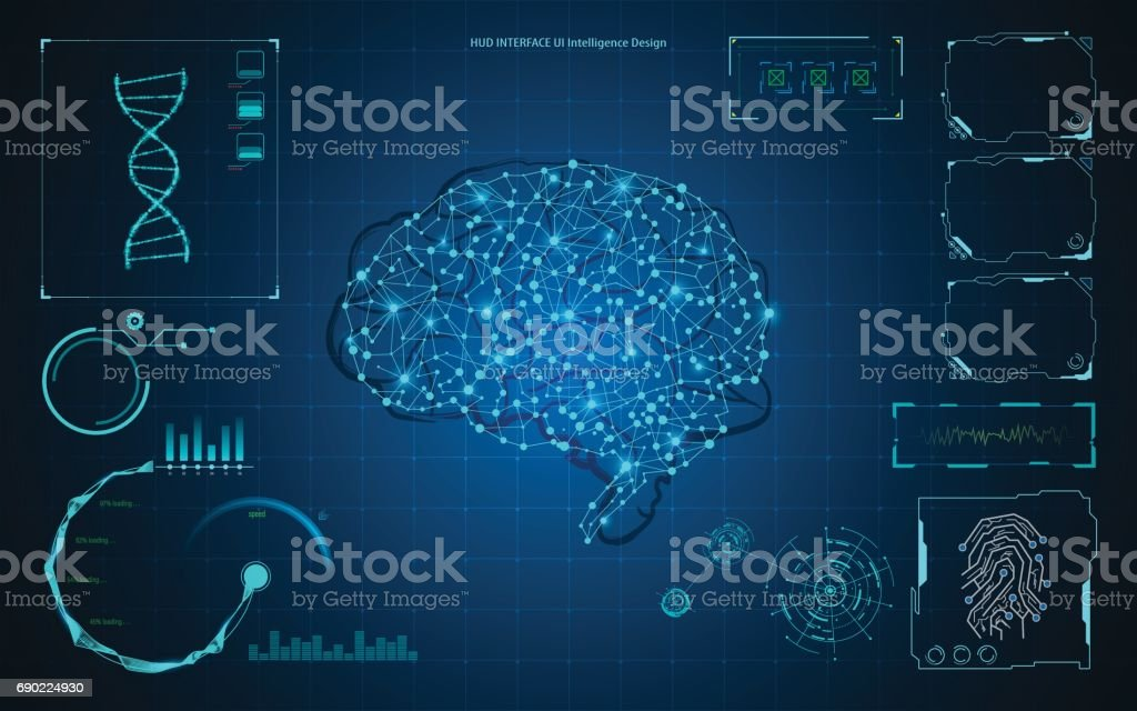 abstract brain artificial intelligence smart technology hud template background vector art illustration