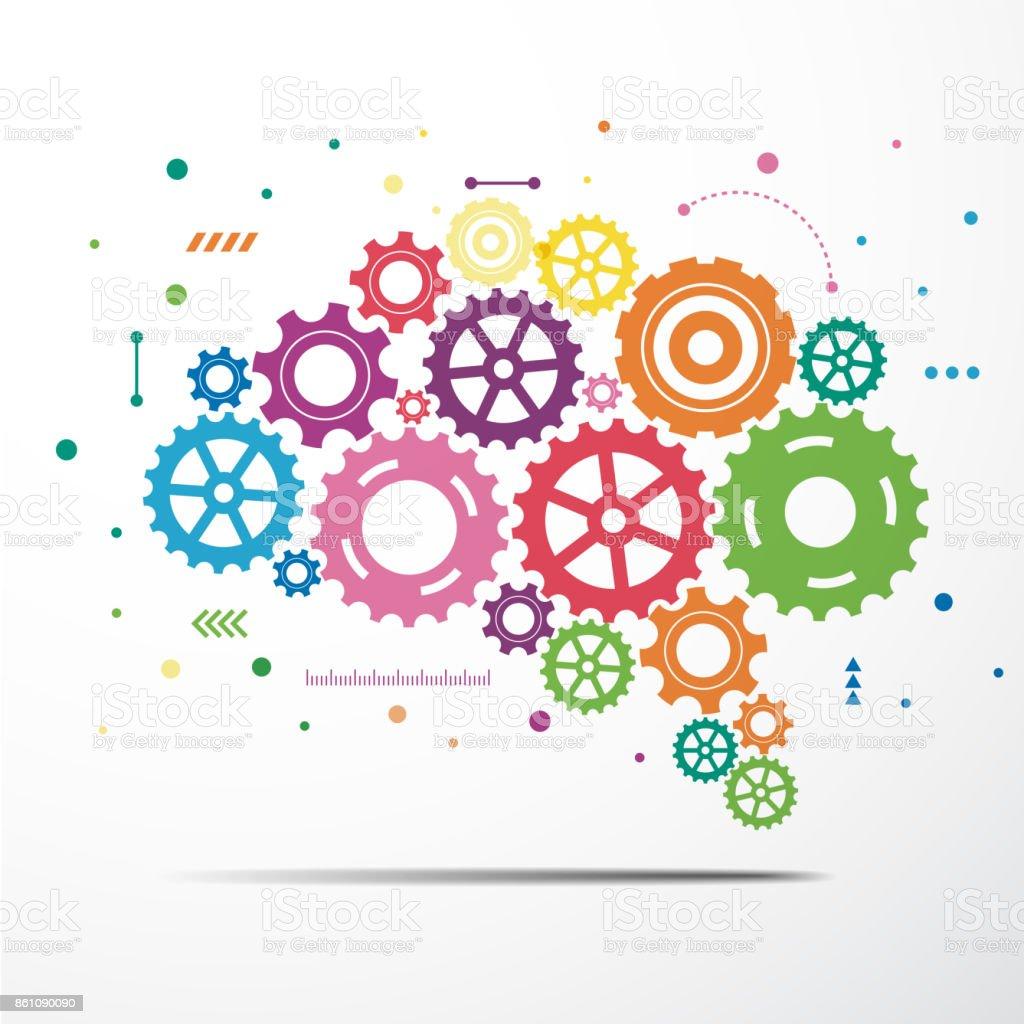 Abstract brain gear colorful. Vector illustration vector art illustration