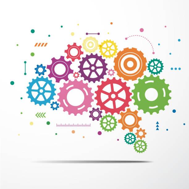 ilustraciones, imágenes clip art, dibujos animados e iconos de stock de engranaje de cerebro abstracto colorido. ilustración de vector - rueda dentada