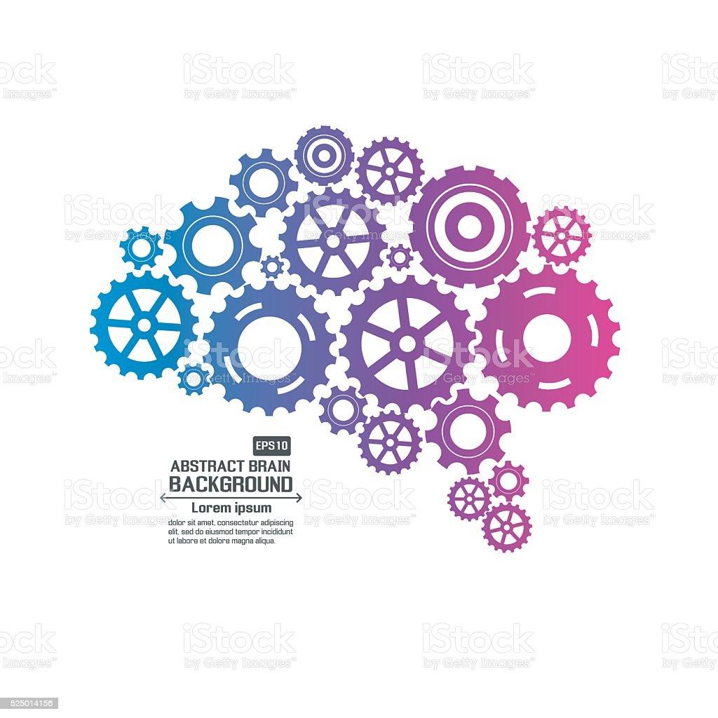 Abstract brain gear vector art illustration