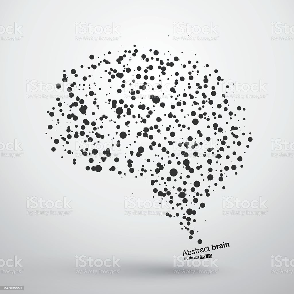 Abstract brain graphic, particles constituting, vector illustration. vector art illustration