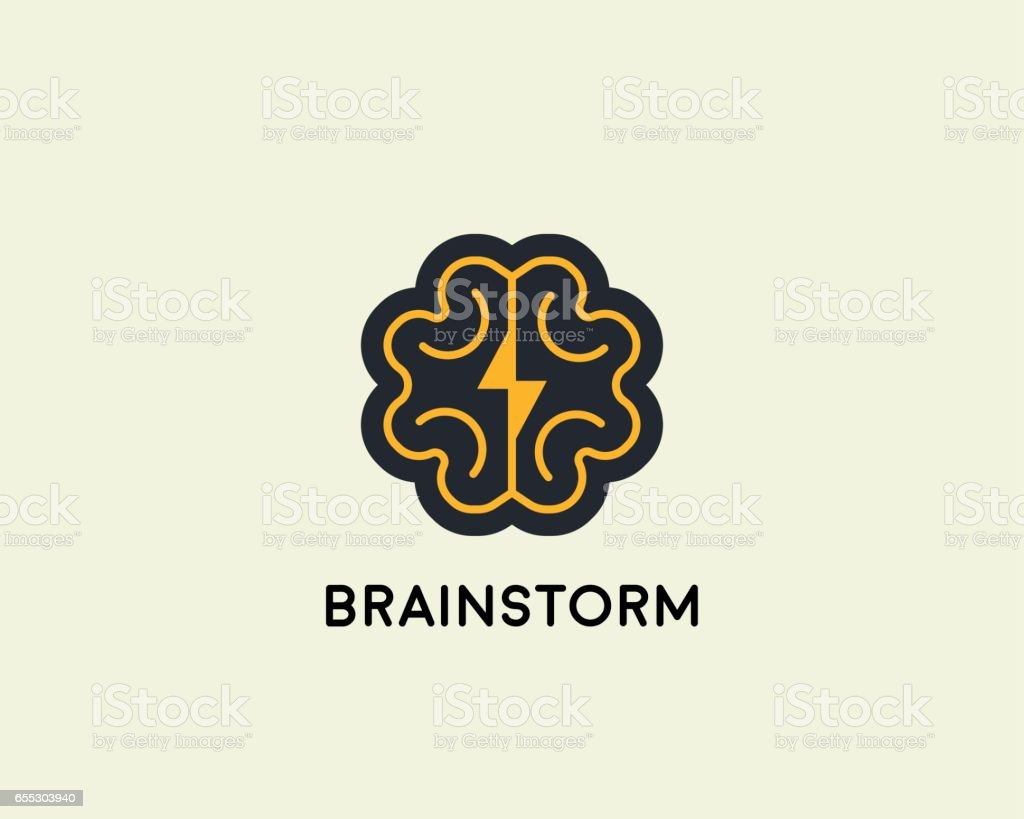 Abstract Brain Logo Design Template Brainstorm Vector Sign Education
