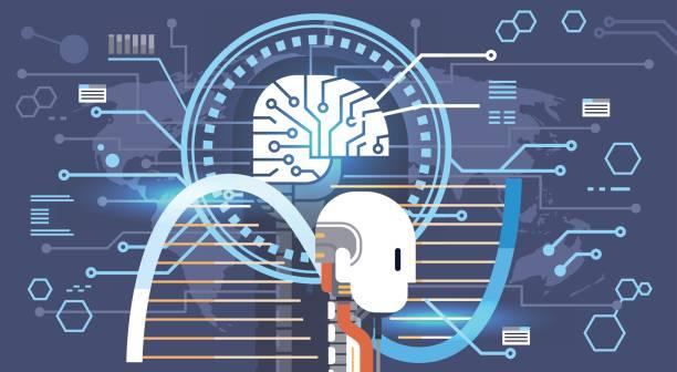 Abstract Brain Neurons Activity, Medicine Thinking Intelligence Concept Banner vector art illustration
