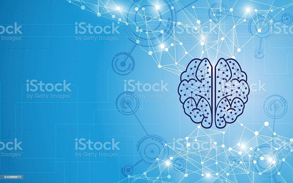 abstract brain tech computer intelligence design concept background vector art illustration