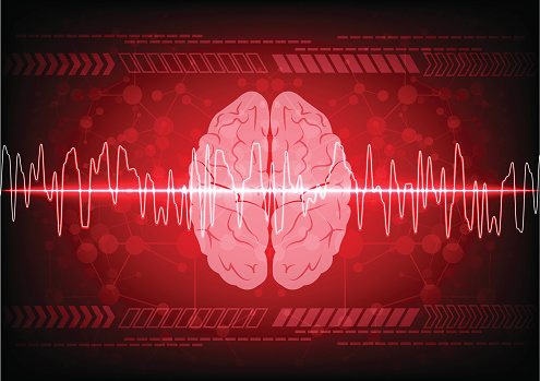 Abstract brain wave concept on blue background technology. illus