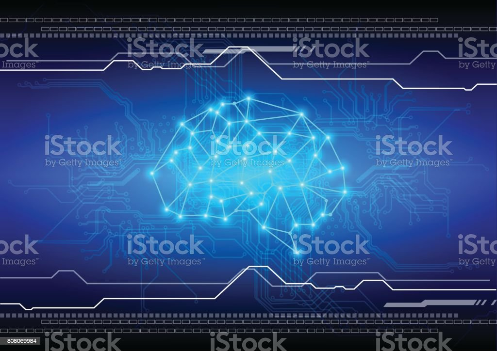 abstract brain with circuit technology background. illustration vector design vector art illustration