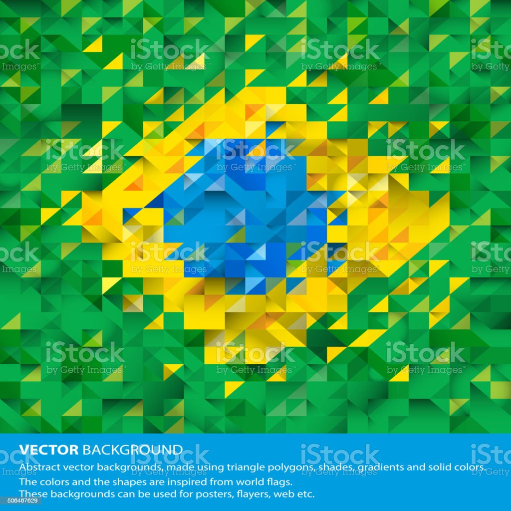 Abstract Brazil Background, Brazilian Flag vector art illustration