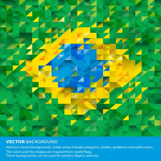 Abstract Brazil Background, Brazilian Flag vector art illustration