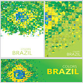 Abstract Brazil Flag, Brazilian Colors Polygon (Vector Art)