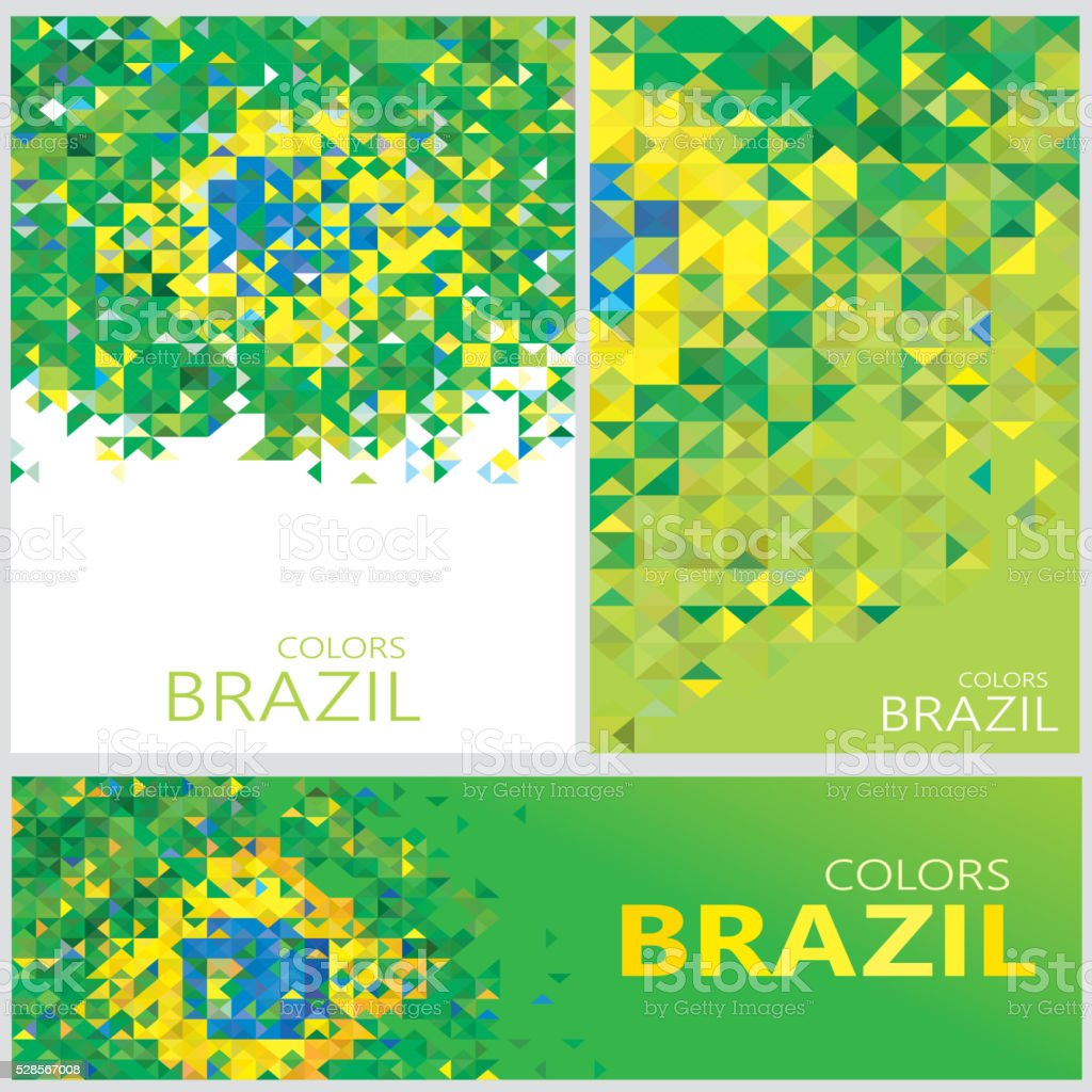 Abstract Brazil Flag, Brazilian Colors Polygon (Vector Art) vector art illustration