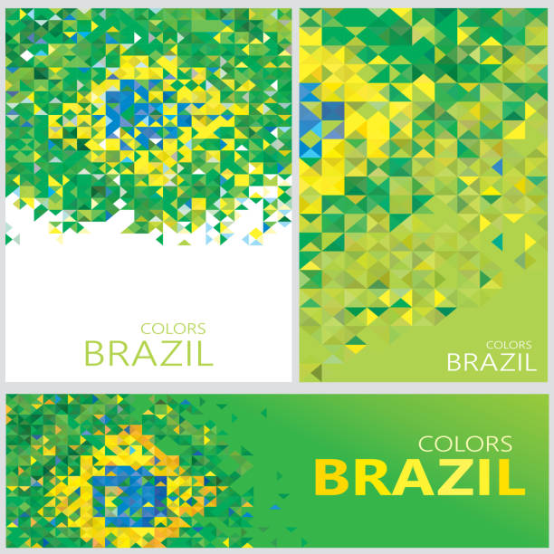 Abstract Brazil Flag, Brazilian Colors Polygon (Vector Art) vector art illustration