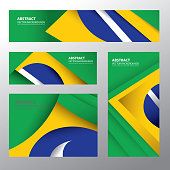 Abstract Brazil Flag, Brazilian Colors (Vector Art)