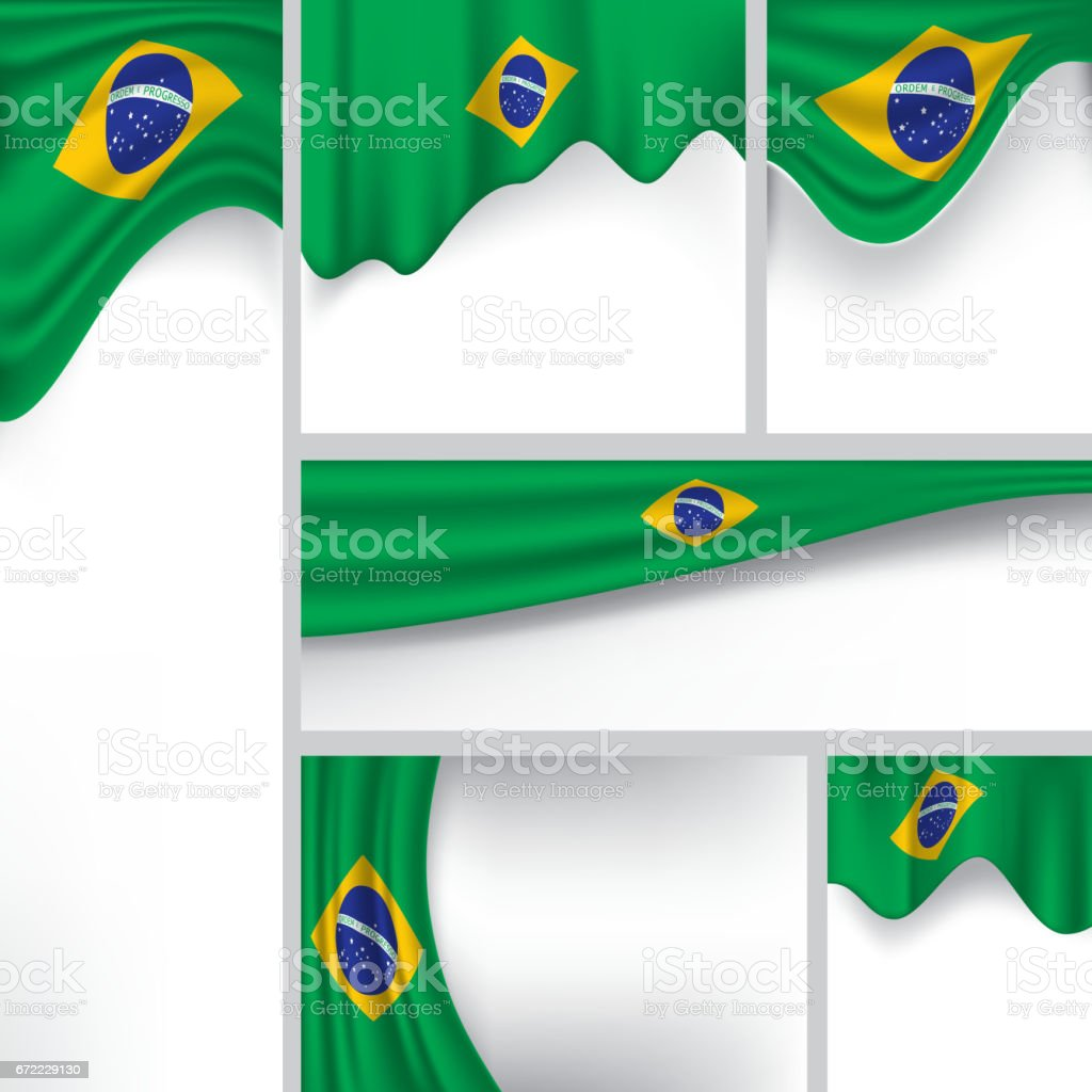 Abstract Brazil Flag, Brazilian Colors (Vector Art) vector art illustration