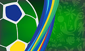 Abstract Sports Soccer Elements Pattern in Brazil Flag Yellow, Green and Blue Color. Brazilian Summer Rio carnival geometric shapes background for poster, banner, invitation, sale card modern design. Vector Template
