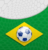 Illustration abstract brazilian background with ball - vector