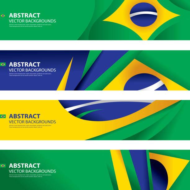 Abstract Brazilian Flag Background, Brazil Art(Vector Art) vector art illustration