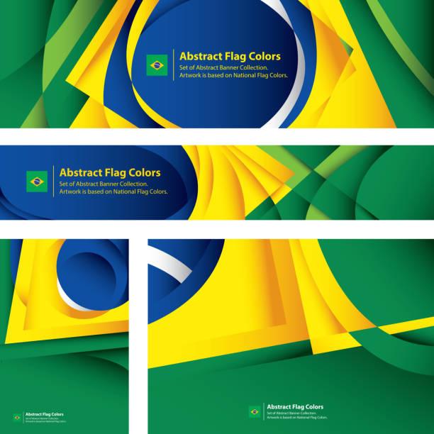 ilustrações, clipart, desenhos animados e ícones de bandeira abstrata brasileira, coleção bandeira (arte vetorial) - brazil
