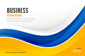 abstract bright blue and yellow wave business banner