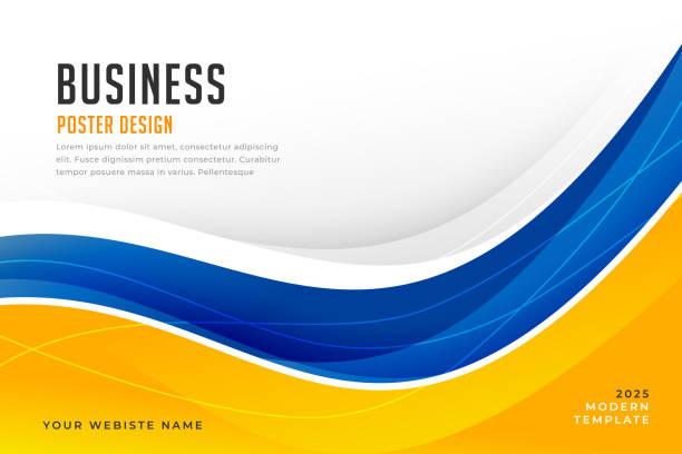 abstrakte hellblaue und gelbe Welle Business Banner – Vektorgrafik