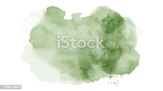 istock Abstract bright green of stain splashing watercolor on white background 1288079944