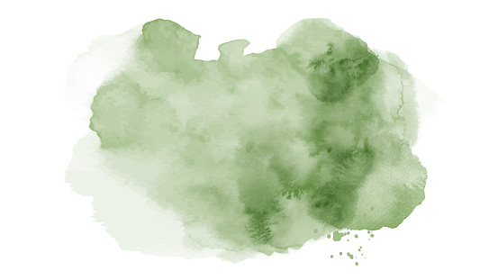 Abstract bright green of stain splashing watercolor hand-painted on white background. Artistic used as being an element in the decorative design of invitation, cards, or wall art.