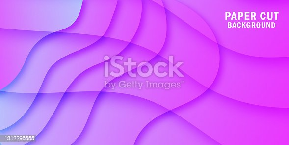 istock Abstract bright purple wavy paper cut background 1312295555