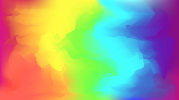 Abstract bright rainbow blurred background Abstract modern vector bright rainbow blurred background. Colorful trendy chaotic mesh wallpaper in rainbow colors for web design gay person stock illustrations