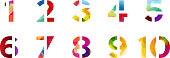 Abstract bright rainbow polygon number alphabet colorful font style.