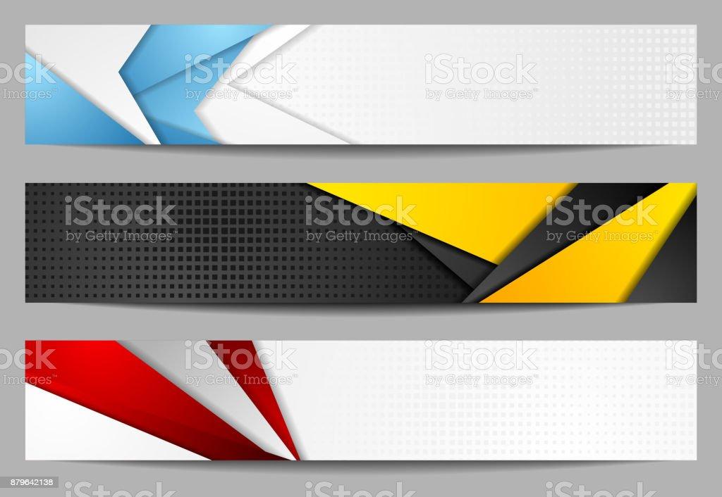 Abstract bright tech geometric banners set design vector art illustration