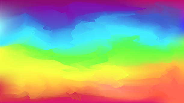 Abstract bright vector rainbow colors background Bright vector watercolor rainbow colors blurred background. Beautiful colorful abstract smooth nature landscape wallpaper in spectrum colors for web design, lgbt concept decor rainbow stock illustrations