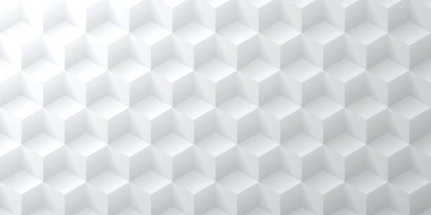 Abstract bright white background - Geometric texture Modern and trendy abstract background. Geometric texture with seamless patterns for your design (colors used: white, gray). Vector Illustration (EPS10, well layered and grouped), wide format (2:1). Easy to edit, manipulate, resize or colorize. cube shape stock illustrations