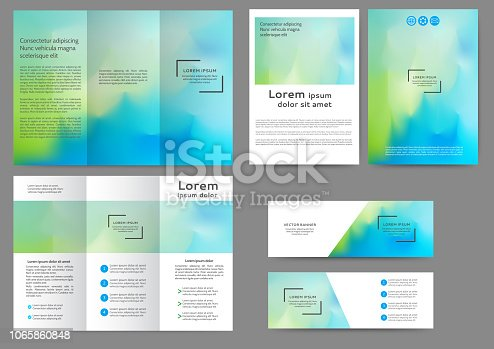 Set of color brochure template with abstract blurred background