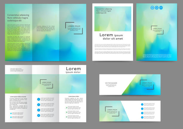 Abstract brochure template Set of color brochure template with abstract blurred background business borders stock illustrations