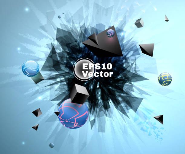 Abstrakte Formen auf blauem Grund gebrochen – Vektorgrafik