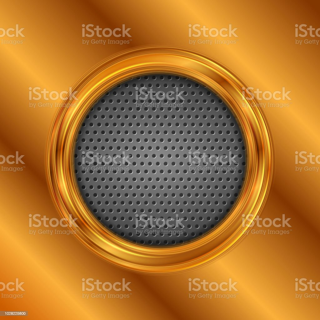 Abstract bronze circle on perforated metallic texture vector art illustration