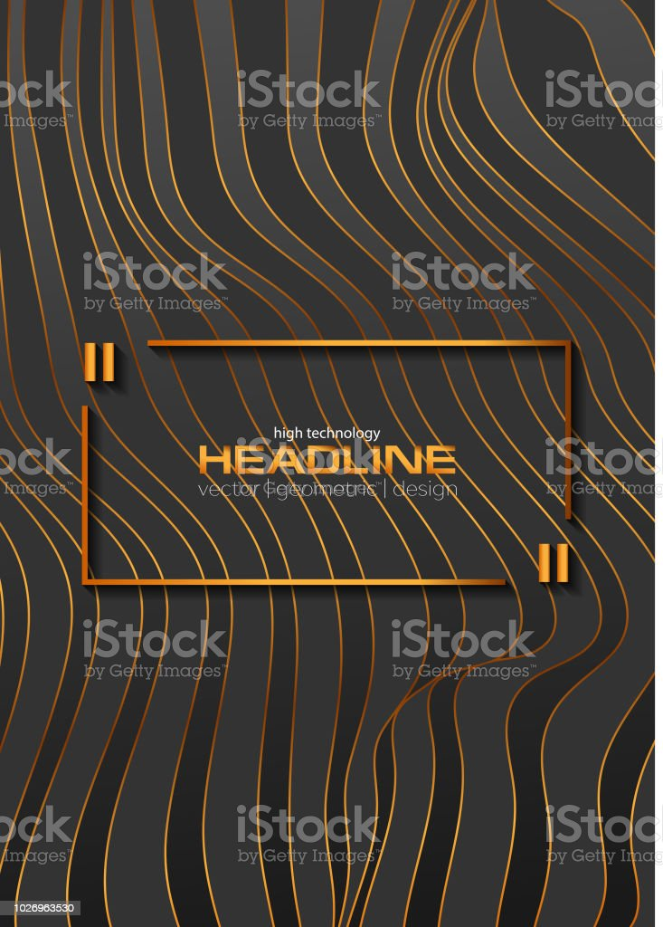 Abstract bronze curved 3d waves refraction background vector art illustration