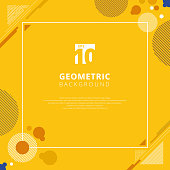 Abstract brown circle geometric pattern design on yellow mustard color background with copy space. Use for modern design, cover, poster, template, decorated, brochure, flyer.