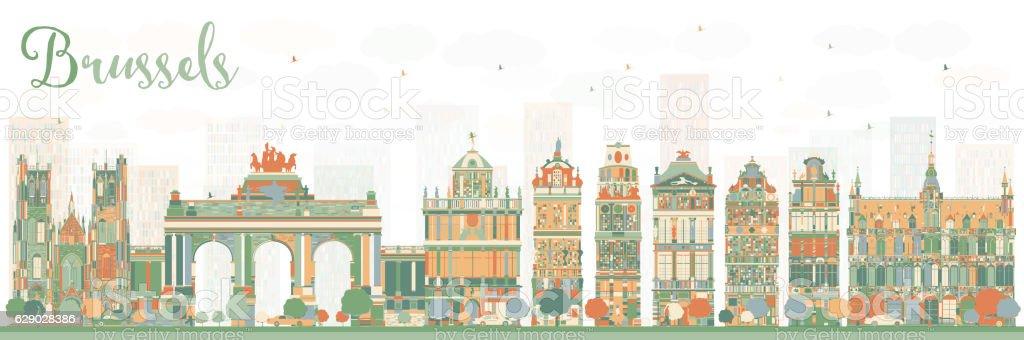 Abstract Brussels Skyline with Color Buildings. - ilustración de arte vectorial