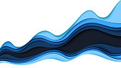 Blue abstract paper wave layer cut background.Paper art style of cover design for business banner template and material design.Vector illustration.